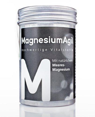 Agilpharma MagnesiumAgil hochdosiertes Magnesium (400 mg pro Tablette) mit wertvollem Meeres-Magnesium, Vit.B1, B6,B12 und Folsäure für die gesunde Funktion von Muskeln, Nerven und Herz (90 Tabletten)