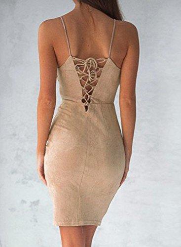 Azbro Women's Spaghetti Strap Back Lace-up Bodycon Mini Club Dress Kaki