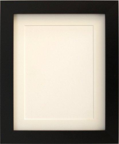 Tailored Frames-Black quadratisch Design Bilderrahmen Größe 25,4x 20,3cm für A5mit Antik weißem Passepartout, zu Stehen, Hängen die.