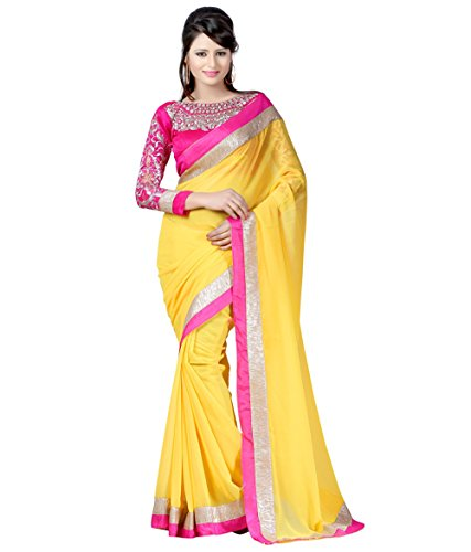 Winza Designer Chiffon Saree with Blouse Piece (necklace yellow(pink)_Yellow (Pink Lace)_Free Size)