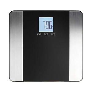 Digitale Personenwaage LCD-Display Analyse Waage Gewicht Bis 180 kg Edelstahl (Körperfett, Wasseranteil, Muskelmasse, Knochengewicht, Speicher 10 Personen)