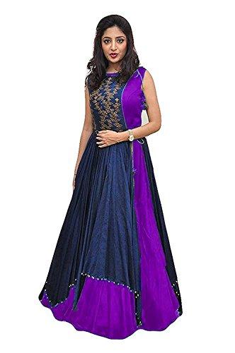 Aracruz Women's Clothing Ethnic Gowns For Party Wear Designer Purple Blue Banglori...