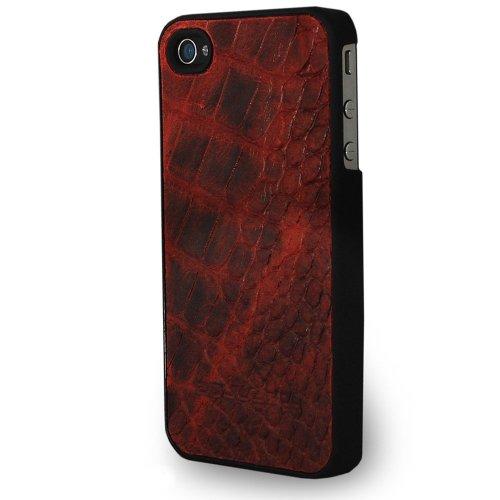 Bouletta JACKET DRAGON Braun Apple iPhone 4S 4 Hardcase Cover Case Etui Hülle Handytasche Schutzhülle Schale - Rückseite aus Echtem Leder 100% Passgenau Dragon Rot