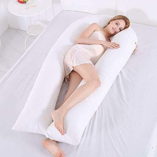 AMhuui Schwangerschaftskissen Ganzkörper, U-förmige Mutterschaft zum seitlichen Schlafen und zur Unterstützung der Rückenschmerzen Bauch, Rücken, Knie,150x65cm