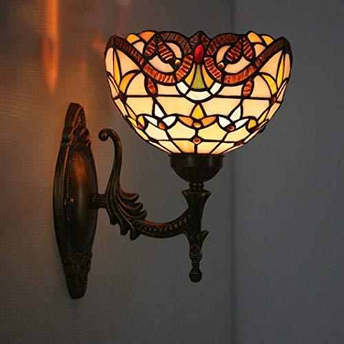 Lampada da parete in stile tiffany, applique da parete in vetro colorato, lampada da comodino per camera da letto lampada da parete in stile barocco per sala da bar dell'hotel ristorante bar occidenta