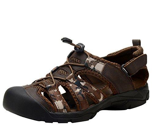 dqq hommes Sandales de randonnée en cuir bout fermé Marron - marron