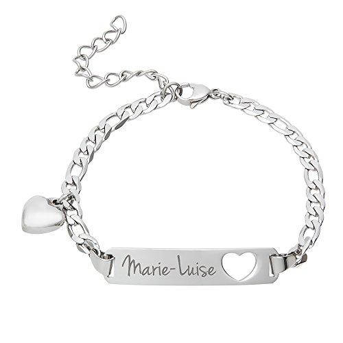 Gravado Armband aus Edelstahl - Personalisiert mit Namen - Herz Anhänger - Karabinerverschluss - Damen Schmuck