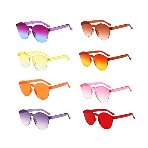 WooCo Schlussverkauf! Randlose Retro Sonnenbrille für Damen und Herren, Brillen Brillen Brillen Klarglas Candy Farbe Brille (8 Brillen, One size)