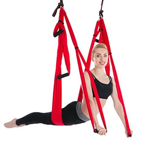Yuanu 6 maniglie outdoor fitness amaca sottile traspirante micro elasticità forte carico yoga hammock/altalena rosso taglia unica