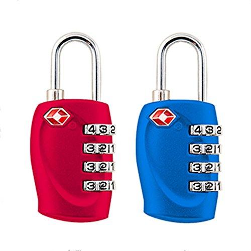 2-pack,TSA Aprobado cerraduras de combinación de 4 dígitos - resiste