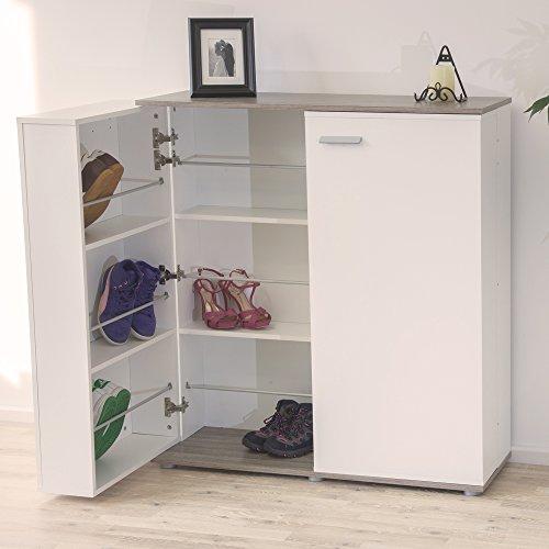demeyere Schuhschrank & Sideboard CUBE in Eiche/Weiß mit 2 Türen und Platz für 24 Paar Schuhe,100cmx108cmx33cm (BxHxT) -