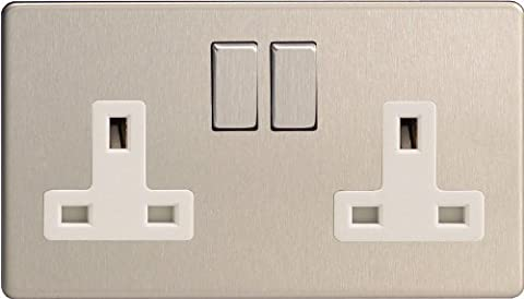 XDS5WS - Varilight - Flat Plate Screwless - Brushed Chrome Metal & White Inserts - 2 Gang 13A Plug Socket by Flat Plate Screwless - Brushed Chrome