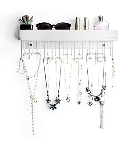 JackCubeDesign Hanging Jewellery Organizer Halskette Kleiderbügel Armbandhalter Wandhalterung Halskette Organizer mit 25 Haken (Weiß / 41,6 x 12,4 x 7,4 cm) -: MK124C (Wand Regale, Haken)