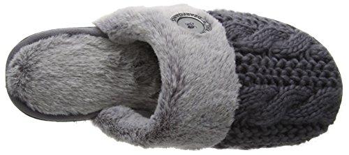 Dearfoams Damen Cable Knit Closed Toe Scuff W/Plush Cuff Hinten Offen Grey (Excalibur)