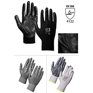 12 pairs palm coated grip gloves -Conforms to European standards for cut & tear resistant, electronic work, precision, gardening gloves (available in size 7/8/9/10) (grey nitrile palm coated, large (9))