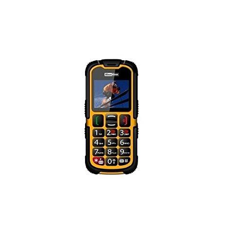 Maxcom MM 910-g Outdoor Activity Handy Dual-SIM (5,1 cm (2 Zoll) Display, 0,3 Megapixel Kamera) gelb