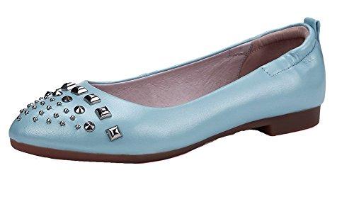 VogueZone009 Femme Tire Pointu à Talon Bas Pu Cuir Mosaïque Chaussures Légeres Bleu