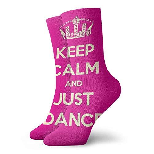 AORSTAR Socken Socks Breathable Keep Calm and Just Dance Stage Disco Ball Crew Sock Exotic Modern Women & Men Printed Sport Athletic Socks 11.8in (Athletic-crew 6 Pack Socke)