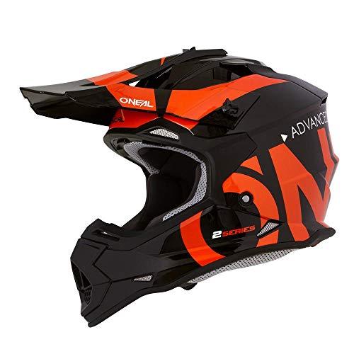 O'Neal 2Series RL Slick Motocross Helm MX Enduro Gelände Quad Cross Motorrad Bike Schutz, 0200-SAdult, Farbe Schwarz Orange, Größe M