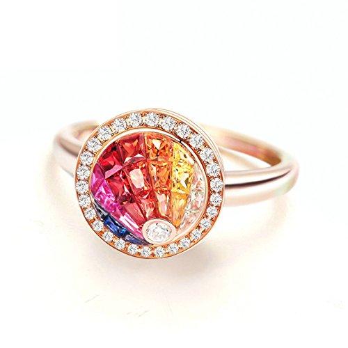 AMDXD Eheringe Damen Gold 0.86ct Natürlich Regenbogen Ribin Saphir Diamant Trauring 750 Größe 53 (16.9)