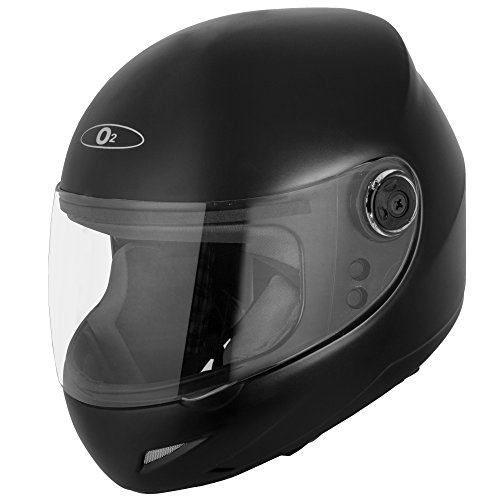 Autofy O2 Full Face Helmet With Scratch Resistant Transparent Visor (Matte Black,M)