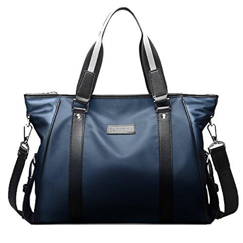 Lässig Mann Schulranzen Handtasche Schultertasche Große Canvas Aktentasche,Blue-14inch