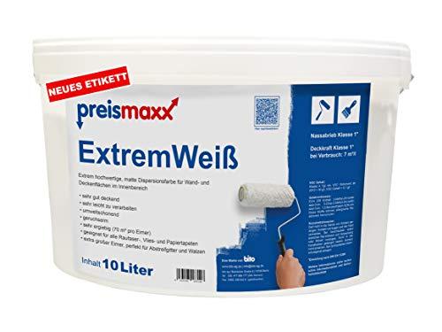 ExtremWeiß, extrem hochwertige Wandfarbe, Deckkraftklasse 1, Premium Qualität, Innenfarbe, weiß, matt, 10 Liter, Nassabriebklasse 1