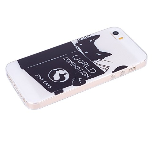 SainCat Coque Housse pour Apple iPhone 5s,Transparent Coque Silicone Etui Housse,iPhone 5 Silicone Case Soft Gel Cover Anti-Scratch Transparent Case TPU Cover,Fonction Support Protection Complète Magn sombre chat
