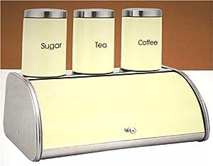 4pc Bread Bin Set Tea Coffee Sugar Storage Canister Kitchen Jar Container Cream Wilsons Direct