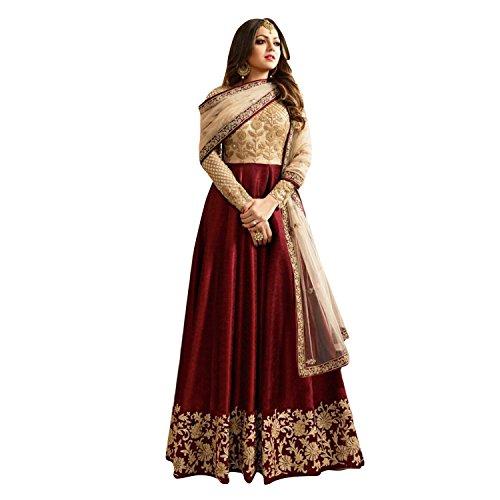 Salwar Soul Maroon Banglory Silk ANd Net womens Long Anarkali Suit (Salwar_ERRR801_Maroon_Free...
