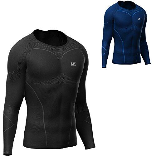 LP Support Air-Series ARM-2401-Z Compression Long Sleeve Top - langärmliges Herren-Funktionsshirt - Kompressions-Shirt - Funktions-Unterwäsche - Thermo-Shirt für Männer, Größe:L, Farbe:schwarz