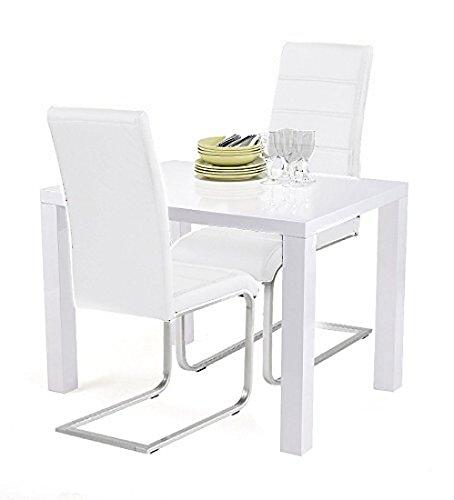 Agionda® Esstischset Göteborg 100 x 60 mit 2 Freischwinger JAN PIET Kunstleder weiß für die kleine Küche