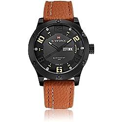 NAVIFORCE Brand Leather Strap Analog Men's Quartz Hour Date Clock Fashion Casual Sports Watches Men Military Wrist Watch (Yellow)
