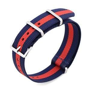 bracelet design striure bleu rouge 18mm a montre hommes femme unisexe nylon touche fine inox 304 glissante