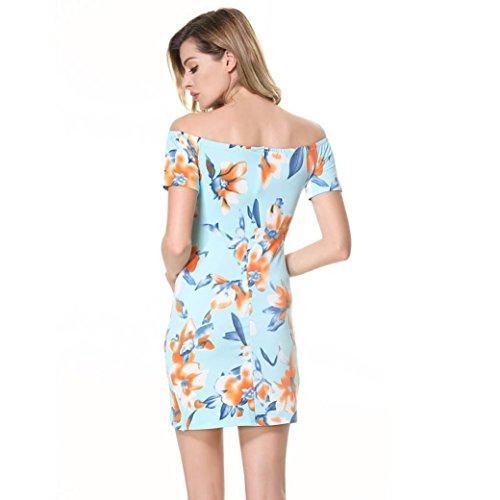 KanLin Damen Aus Schulter Trägerloses Blumendruckkleid kurzes Minikleid Mehrfarbig