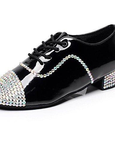 ShangYi Chaussures de danse ( Noir ) - Personnalisables - Talon Bas - Cuir / Cuir Verni -Latine / Jazz / Baskets de Danse / Moderne / Salsa /