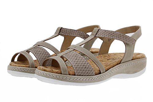 Komfort Damenlederschuh PieSanto 1908 Sandale mit herausnehmbarem Fußbett bequem breit Visón