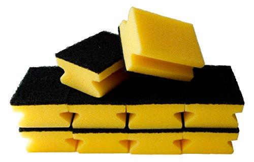 Sonty 10 Stück Schwamm, Topfreiniger, Küchenschwamm für hartnäckigen Schmutz, Premium Topfschwamm mit Griffleiste, Scheuerschwamm mit Schleifmittel, Reinigungsschwamm 9 x 7 x 4 cm schwarz/gelb