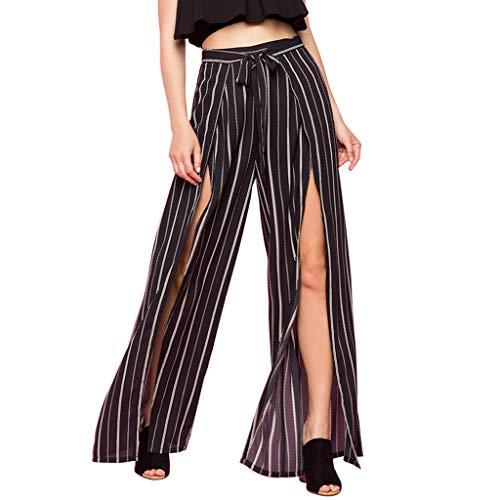 POIUDE Damen Lose Gestreifte Lange Hose Ladies Long Trousers Drawstring Wide Leg Hose Yoga Hosen Freizeit Hose Weitem Bein(Schwarz, S)