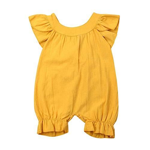 Generic JERFER Softshell Overall Neugeborene Feste Sommer-ärmellose Spielanzug-Bodysuit-Säuglingskleidung