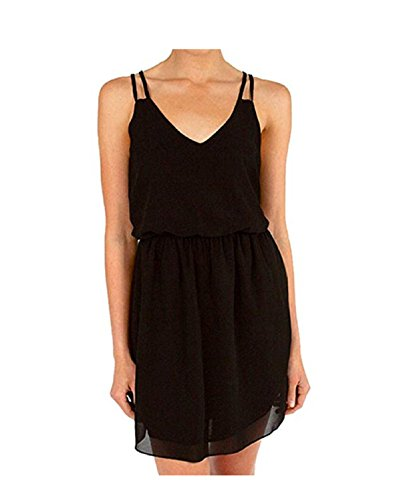 SUNNOW Elegant Damen Sommerkleid Minikleid Casual doppel Schulterriemen Chiffon Rock Partykleid...