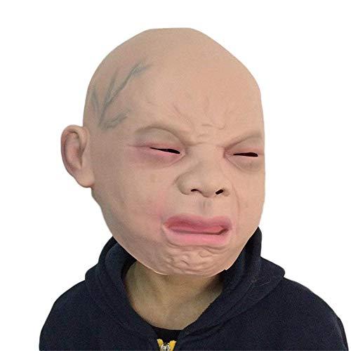 Fliyeong Halloween Neuheit Latex Cry Baby Gesichtsmaske Gruselige Vollkopfmaske Baby Weinen Maske Party Requisiten 1 STK (Baby Maske Halloween)
