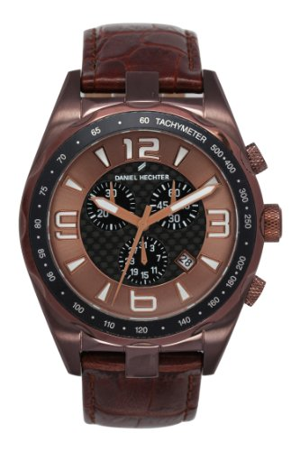 Daniel Hechter Men's Quartz Watch with Black Dial Analogue Display Quartz Leather DHH 005 5UU