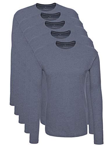 Lower East 5er Pack Herren Langarmshirt mit Rundhals-Ausschnitt, in verschiedenen Farben 5er Pack, Rauchblau Melange, Medium
