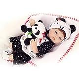 sunhoyu New Born Baby, 40 cm Silikon lebensechte Baby Puppe Panda Kleidung Hut frühe Kindheit Kinder niedliche Puppe Junge Mädchen Puppe