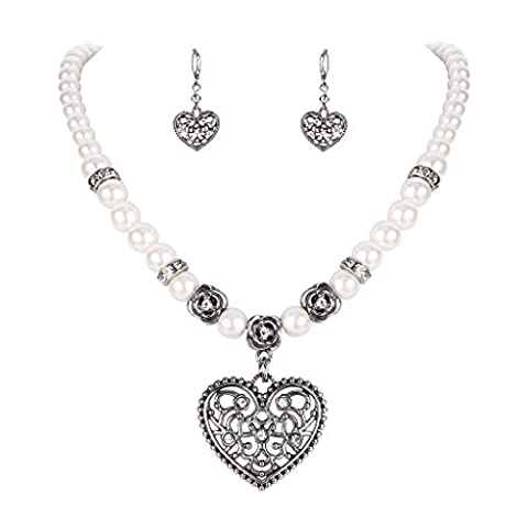Clearine Women's Bohemian Boho Crystal Simulated Pearl Hollow Heart Shape Pendant Necklace Leverback Earrings Set Clear Antique-Silver-Tone