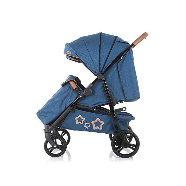 Chipolino Passo Doble Sibling Pushchair Folding 73 cm Wide Footmuff Chipolino twin pushchair easy to fold, footrest and push handle covered with imitation leather from birth, large sunroof, foot cover, only 73 cm wide 5-point safety harness with shoulder pads, 5 adjustable lying positions, adjustable leg rests per seat 5
