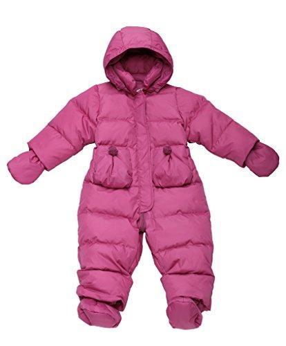 Oceankids Rose Rosse Giubbotto imbottito / tuta da neve in piuma d'oca con cappuccio rimuovibile e tasche a toppe, da bambino e bambina 18-24 Mesi