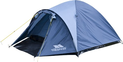 Trespass Ghabhar, Dolphin, 4 Personen Zelt 285cm x 240cm x 130cm / 4,2kg / Wasserdicht / Feuerhemmend, Blau
