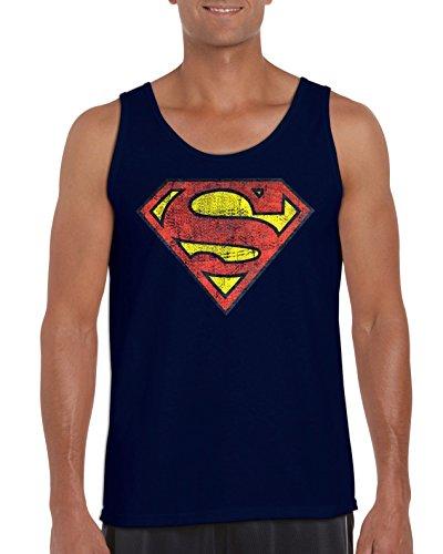TRVPPY Herren Tank-Top Shirt Modell Vintage Superman, Navyblau, L (Marvel-comic-tank)